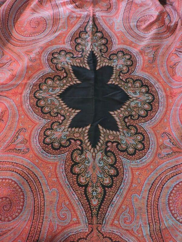 Victorian Antique Paisley Jacquard French Wool 60 x 124 Shawl ca.1860