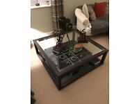 Wooden Framed, Glass Top Coffee Table