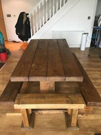 Bench Table (rustic) with 4 benches