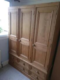 SOLID PINE TRIPLE WARDROBES WITH DRAWERS