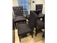 6 Flynn Dining Chairs (2 scoop and 4 regular).
