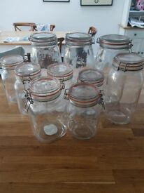 10 x Kilner jars various large sizes