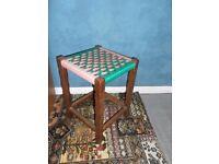 Vintage Hardwood Rattan Stool