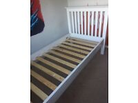 Gorgeous heavy & solid white wooden single bed frame