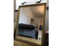 Mirror Gilt Vintage Large Gilt Beveled Mirror 87 cm x 105 cm