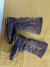 Brown real leather and suede mid calf boots. Size 3.