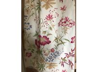 Laura Ashley Neisha Floral Interlined Curtains 124cm x 133cm Cream/Red