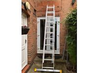 6.26m ladder - 3 section extension with integral stabiliser. Almost new