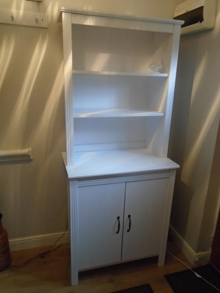 MODERN IKEA WHITE KITCHEN DRESSER WALL UNIT DISPLAY UNIT WITH