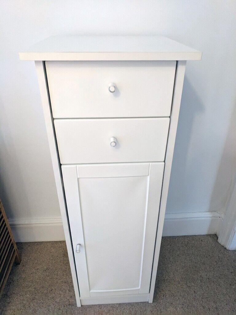 Bathroom Cabinet White Slim Drawers Shelves Modern Minimalist Tall Small Cupboard Stylish Storage