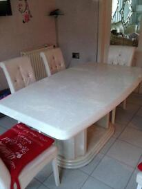 Marble table 6 chairs