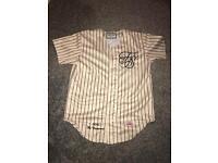 Sik Silk - Cream Striped Baseball Jersey - Size S