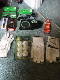 Golf balls, gloves, airballs