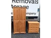 Solid pine wood wardrobe with matching chest of drawers £125
