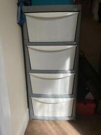 Argos Home Plastic Storage 4 Drawers - Grey and White