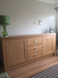 Solid Beech sideboard. Three drawers, 2 cupboards. 205 mm long 50 mm wide. Very good condition.