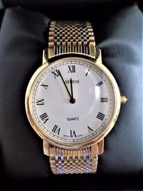 STYLISH - 14CT SOLID GOLD AND TWO TONE YELLOW AND WHITE GOLD BRACELET GENEVE GENT'S DRESS WATCH