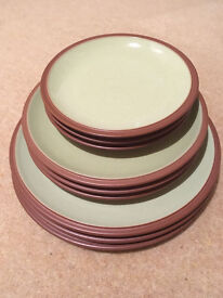 9 x Denby Juice Plates In Great Condition Barely Used Green/terracotta