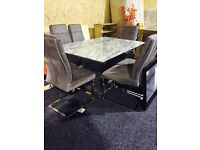BRAND NEW MODERN MARBLE DINING TABLE AND SIX CHAIRS