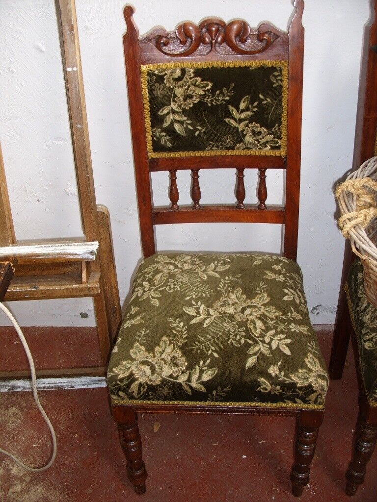 Set of 4 edwardian antique upholstered dining chairs in green velvet