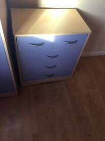 Children's lilac wardrobe and chest of drawers good condition pick up only