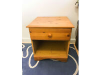 Solid Pine Bed Side Table with Drawer