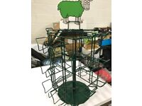 TABLETOP REVOLVING STAND WITH 8 MUGS WITH KNITTING SLOGANS AND A HIGHLAND COW NEW
