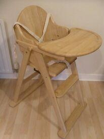 East Coast Folding Highchair (Natural All Wood)