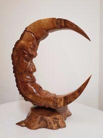 Hand made wooden Moon art