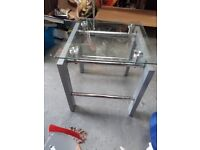 Glass Top silver side table. Coffee occasional
