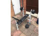 Weights bench and 30kg weights and bar