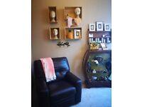 Dark Brown Leather Reclining / Recliner Arm Chair * Stockbridge * Comfortable & Good Condition