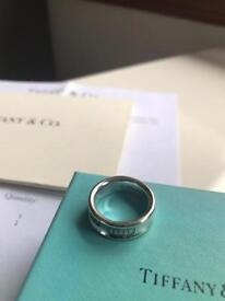 """Tiffany 1837 silver ring size 6.5 """"M"""" only £70 (retailing at £215). Original packaging."""