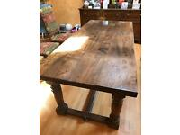 Antique Elm & Oak Refectory Table