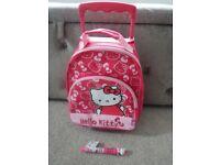 Hello Kitty trolley bag / mini case (preloved) + Hello Kitty multi pen (brand new)
