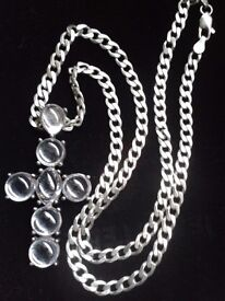 SOLID SILVER CROSS/CURB CHAIN,