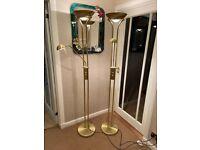 Mother & Child - Satin Brass Floor Standard Lamps Double Dimmer