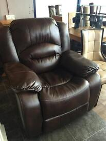 New/Ex-display***Brown leather reclining armchairs ONLY £160
