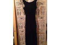 CLVIN KLEIN STUNNING FALL LENGTH BLACK BACKLESS DRESS SIZE 2 UK 8/10