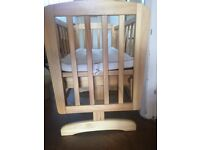 Baby Crib Wooden Swinging Infant Cradle Rocking Cot
