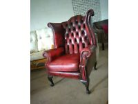 red chesterfield wingback Queen Anne chair Delivery poss