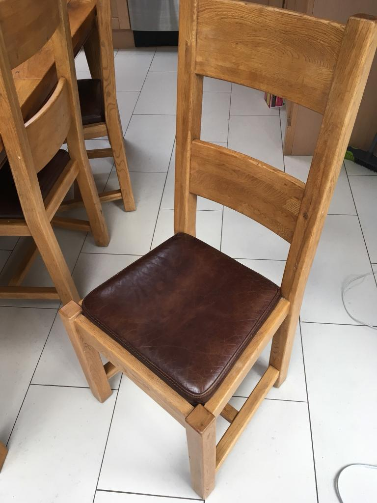Pleasant 2 4 Or 6 Solid Oak And Leather Halo Dining Chairs In Bowdon Manchester Gumtree Pabps2019 Chair Design Images Pabps2019Com