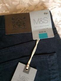Men's navy cord trousers 32 waist 29 leg