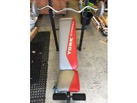 York Fitness weight bench, barbell and dumbbells