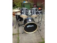 Black Tiger five piece drum kit