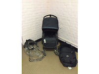 !Reduced!Bugaboo Cameleon 2 Original Limited edition black frame Demin with carrycot and rain cover