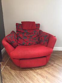 Red love seat 2 seater swivel / reclining chair cuddle snuggle seat