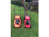 X2 petrol lawnmowers in exellent condition