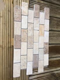 Tavertine brick mosaic Tiles x 12. 30.5cms x 30.5cms.