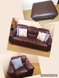 Brown leather sofa, chair and footstool(need gone as soon as possible)